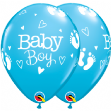Baby Boy Footprints & Hearts - 11 Inch Balloons 25pcs